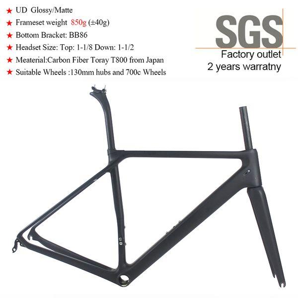 Super Light Carbon Bike Frame UD Matte Glossy China OEM Racing T800 Carbon Fiber Road Bicycle Frameset SF20 weight 850g BB86