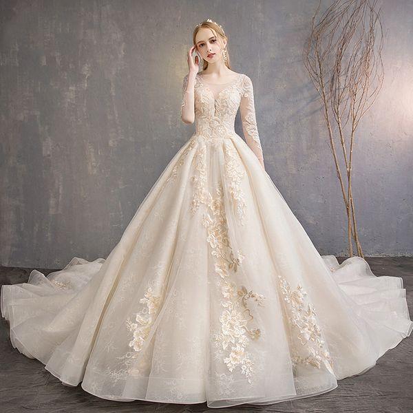 Abiti Da Sposa Francesi.Acquista 2019 New Design Abito Da Sposa Francese Nuova Coda