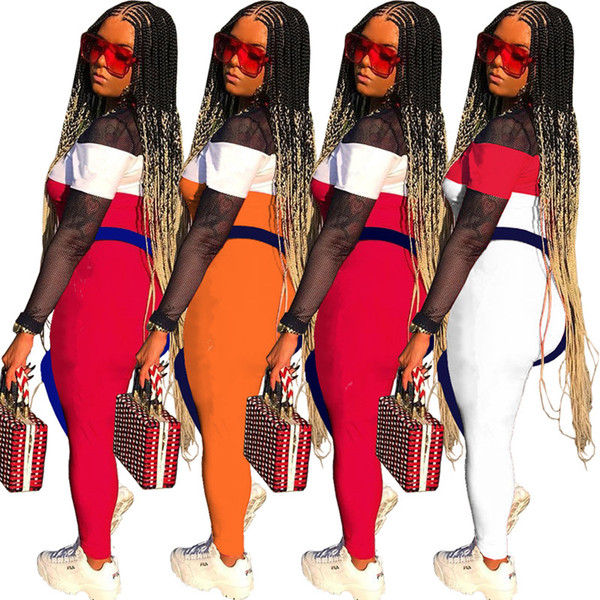 best selling designer women sheer sports set Embroidery letter shirt leggings 2 piece set tracksuit pullover tights outfits sportswear sweatsuit 88