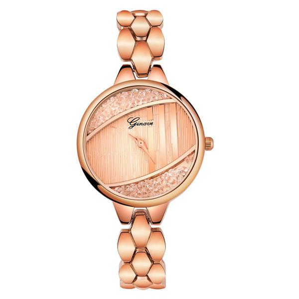 Montre de mode pour femmes de luxe en acier inoxydable bande analogique Quartz Montres-bracelets design créatif Bracelet en cristal de dames