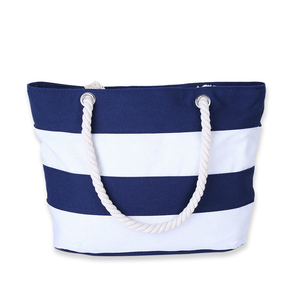 2019 Fashion Women Beach Canvas Bag Fashion Color Stripes Printing Handbags Ladies Large Shoulder Bag Totes Casual Bolsa Shopping Bags