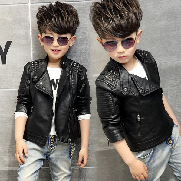 top popular Hot sale leather jacket Children's clothing spring and autumn boy's Korean version new year coat leather jackets 2021