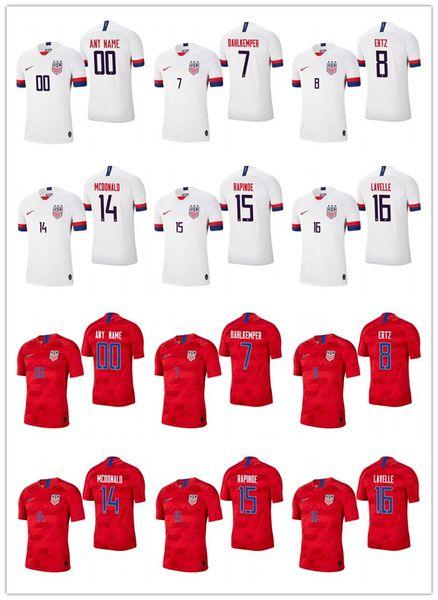 best website b334f c2d2b 2019 Men Usa 7 Abby Dahlkemper 8 Julie Ertz 14 Jessica Mcdonald 15 Megan  Rapinoe 16 Rose Lavelle White Red 2019 Champion World Cup Jersey From ...