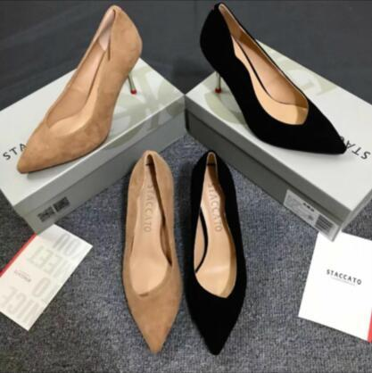 Atacado novo sexy stiletto saltos de pele de carneiro volta anel pointy saltos 7.5 cm elegantes mulheres vestido de escritório sapatos