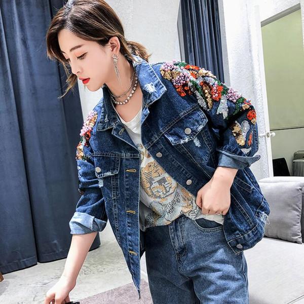 2019 Herbstmode koreanischen Jeansjacke losen Mantel schwere Stickerei Ärmel Perlen Pailletten schlanke Jeansjacke mujer w893
