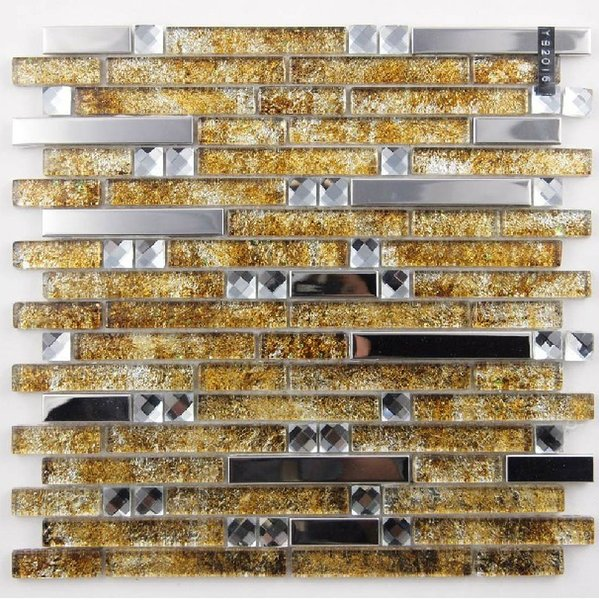 Yellow Gold Glass Mosaic Stainless Steel Kitchen Backsplash Tile SSMT148 Silver Metal Glass Mosaic Bathroom Tiles