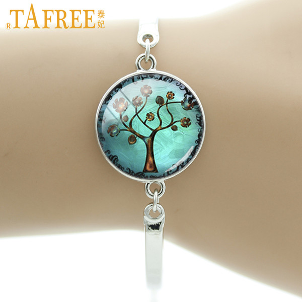 TAFREE Copper Tree Art Picture Glass Cabochon Dome Charm Bracelet Jewelry blue color bangle tree of life women jewelry D925