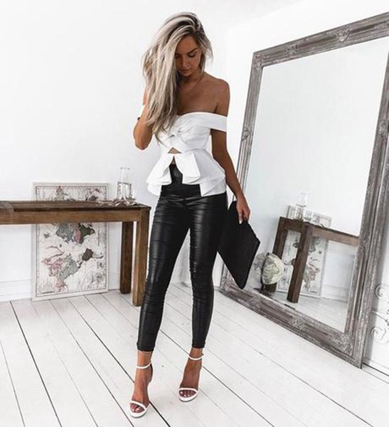 Women's High Waist Skinny Stretch Pencil Pants Hot Sale Ladies Slim Fit Trousers Pu Leather/Leopard/Python Skin Printed Trousers