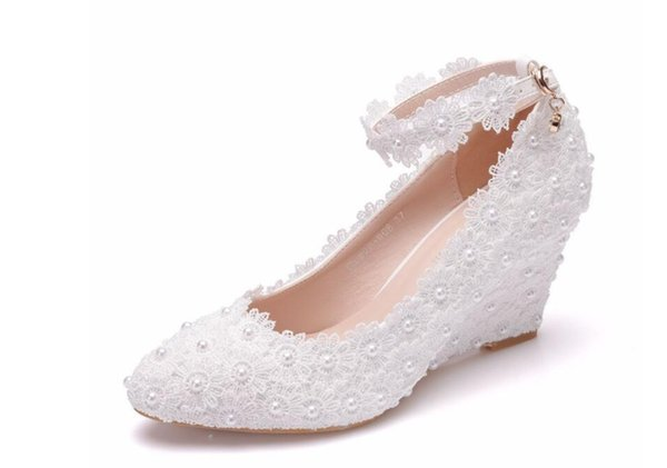 2019 pearl lace fashion sexy peplum slimming high-heeled women's shoes wedge heel high heel casual low-cut shoes with pointed buckle