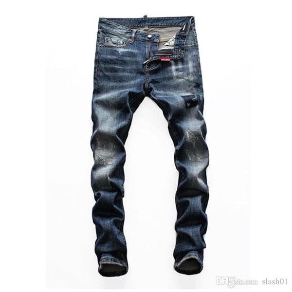 2020 2020 Fashion Designer de haute qualité pour hommes Porter révolutionnaire trou Locomotive Jeans Minceur moto Jeans Hip-hop pour hommes »