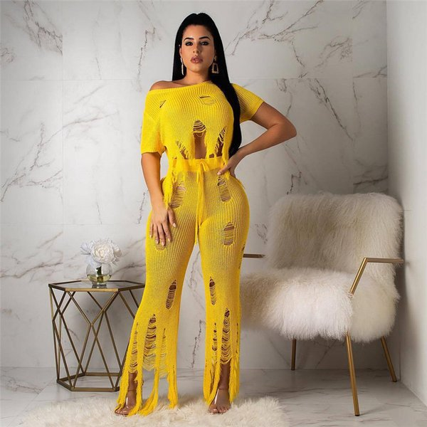 new women set summer knitted cut out sweater tee top wide leg pants suit two piece set fashion tassel tracksuit outfit