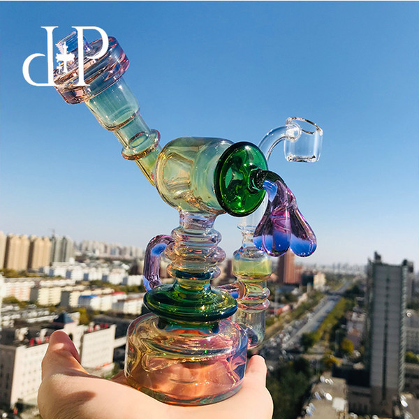 """Plus Glass Bong Dab Rig Water Pipe 503PFG Cute Robot Fumed Hanger Pipe 6.3"""" Height 14mm Male Dab Rig Water Pipe"""