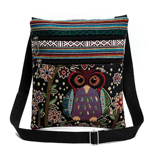 Cheap Cartoon owl 2018 Canvas Embroidery Floral Crossbody Bag Women Teenage Girls Small Shoulder Messenger Bags Bolsos Mujer Bolsa