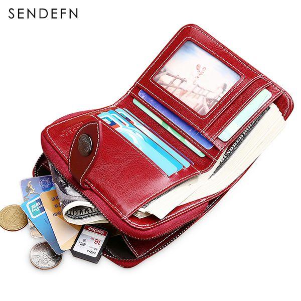 Sendefn выдалбливают кошелек короткий кошелек женский кожаный винтажный женский кошелек застежка-молния кошелек небольшой кошелек для монет карман 5147-69MX190829