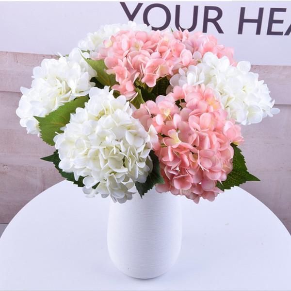 Compre Es Flores Artificiales Hortensia Bouquet Decoración Del Hogar Arreglos Florales Suministros De Decoración Accesorios De Dibujos Animados