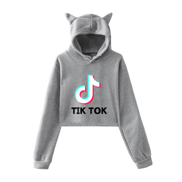 top popular Tik Tok Note Letter Printing Loose Large Size Cat Ears With Caps Umbilical Sweater Women 2XL 2021