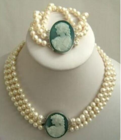 Jewelryr Pearl Set 3 row 7-8mm White Akoya Pearl Cameo Necklace Bracelet Free Shipping
