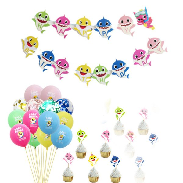 25 teile / satz Baby Shark Party Supplies Cartoon Kuchen Karten Cupcake Einsätze Karte Pailletten Latex Luftballons String Flags Kinderzimmer Decro Geschenke C71105