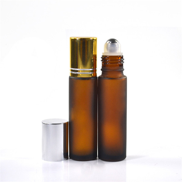 300pcs*colorful 10ml frosted amber glass roller bottle glass essential oil roller bottle with aluminum cap roll on