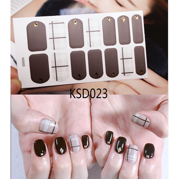 14tips/Sheet Matte 3d Gold Nail Art Sticker Full Cover Stickers Wraps DIY Self Adhesive Super Beauty High Quality KSD15-28