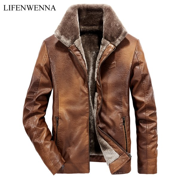2018 New Winter Men's Leather Jackets Mens Fashion Classic Motorcycle Warm Fur Collar Jackets Male Casual Solid Windfroof Coats