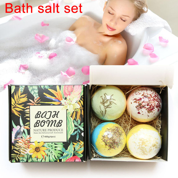 4pcs Bath Salt Bomb Ball Essential Oil Natural Bubble Whitening Moisturize Relaxation Gift Body Skin Care Beauty Bath Salt Set