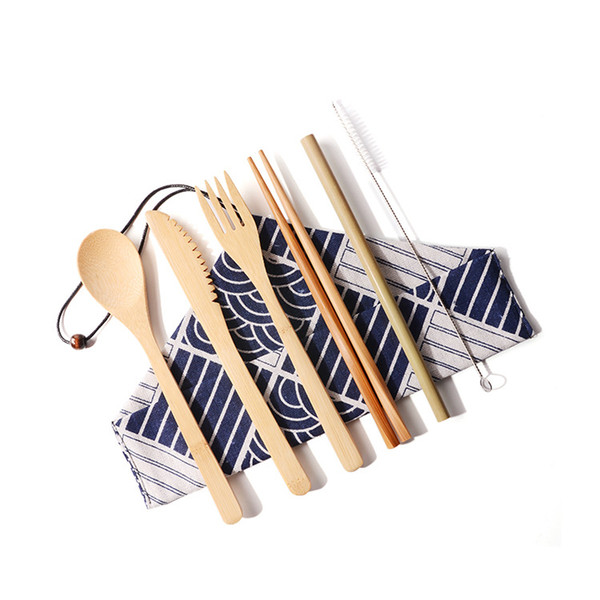 Garden Outdoor Portable Bamboo Tableware Set Flat Environmental Folding Tableware Home Kitchen Tableware Set 6 Component Sets T3I5086