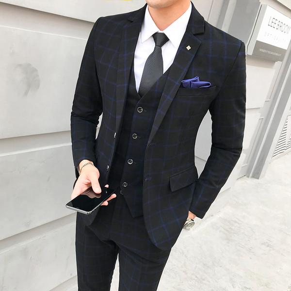 Plaid men suit three-piece set ( men suit Jacket + Pant + Vest ) Asia size S - 5XL Gray & Blue & Red Mens Blazer Suits