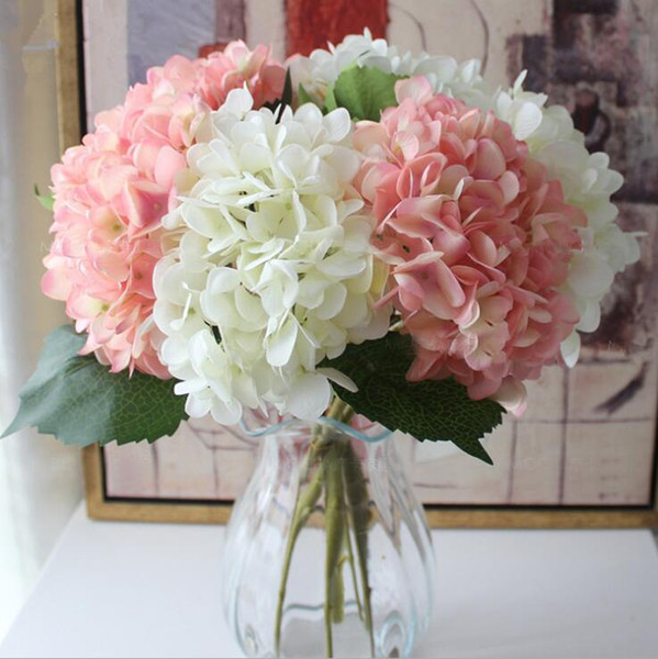 47cm Parti Düğün Centerpieces Ev Flowers Yapay Ortanca Çiçek Baş Sahte İpek Tek Gerçek Dokunmatik Hydrangeas 9 Renkler Malzemeleri