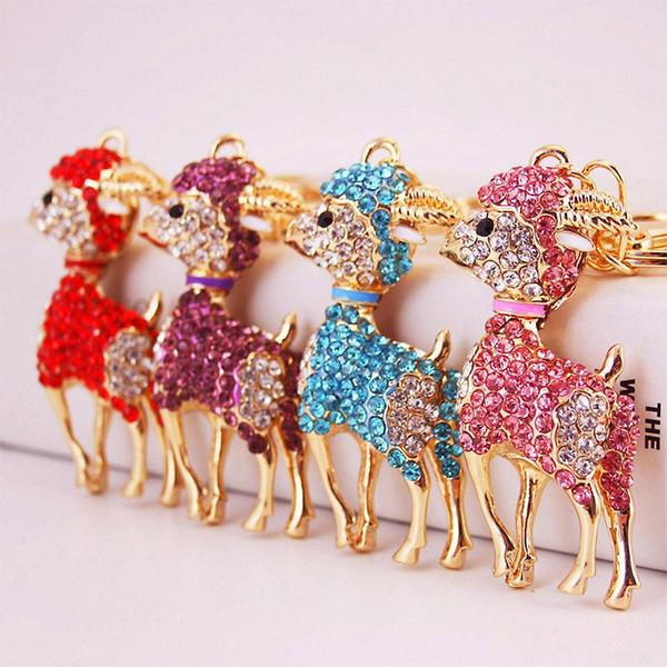 Crystal Key cadena del Rhinestone de oveja color oro animal de la aleación colgante llavero del bolso del encanto del oro del metal llave del coche del envío Anillo
