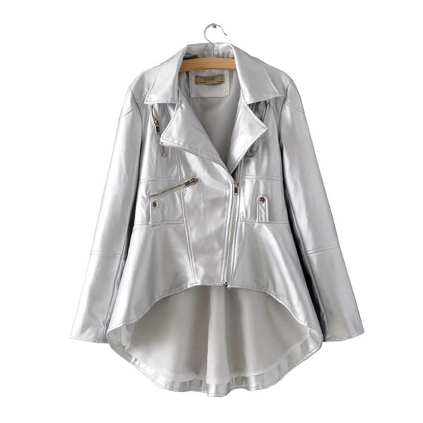 Sonbahar Kadın Siyah PU Kadınlar için Faux Deri Ceket Beyaz Asimetrik Blazer-yaka Güz Haki Bayanlar Gümüş Yüksek Düşük Palto XL