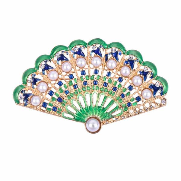 2019 creative design Chinese style enamel fan shape simulated pearl retro chest brooch women elegant jewelry free shipping 10pcs/lot