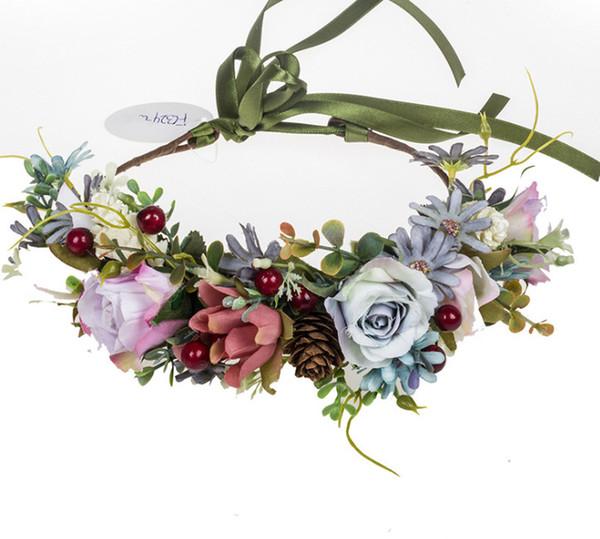 INS Children wreath handmade Girls simulation berries flowers crown children ribbon lace-up Bows headbands kids princess garlands F8284
