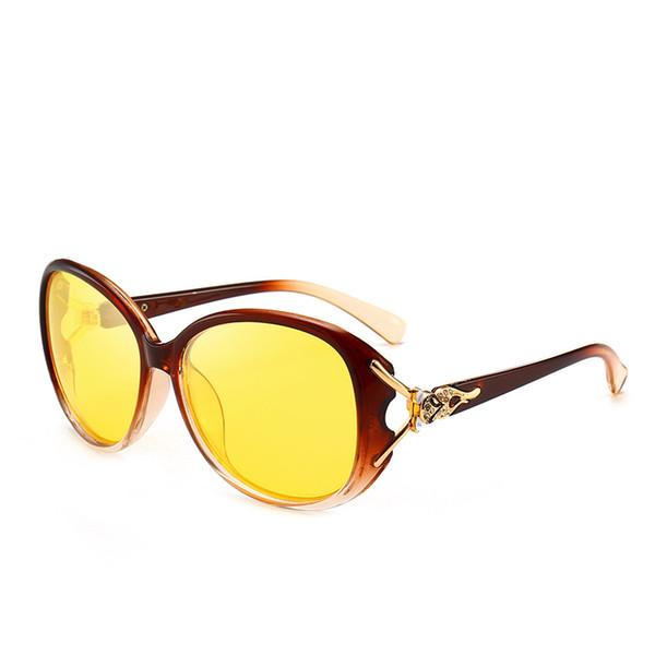 Female fashion and fresh tide sunglasses polarized sunglasses ms fox head with diamond face night-vision goggles
