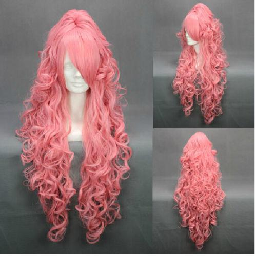 shun Hot heat resistant Party hair>>>>>Fashion Long Party Women Girl Cosplay Wig Vocaloid Luka Pink Hair Curly WigsAA