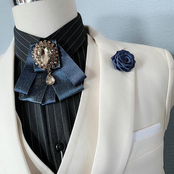 2019 Elegant Erwachsene Unisex Kragen Hemd Fliege Set Legierung Strass Hochzeit Anzug Broschen Krawatte Uniform Band Pin Fliege