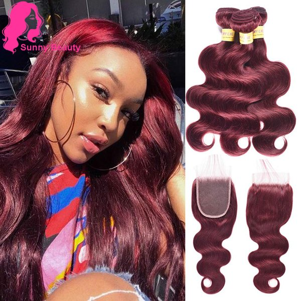 gaga Mother's Day Gifts for Mom Hair Brazilian 3 Bundles Curly Hair Weft With 4x4 Lace Frontal Closure Wine Red 99J Body Wave Hair Bundles