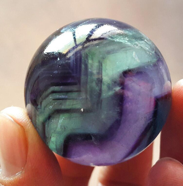 New ++ ++ HOT 40 mm Natural Fluorite Quartz Crystal Sphere Ball Healing 32310