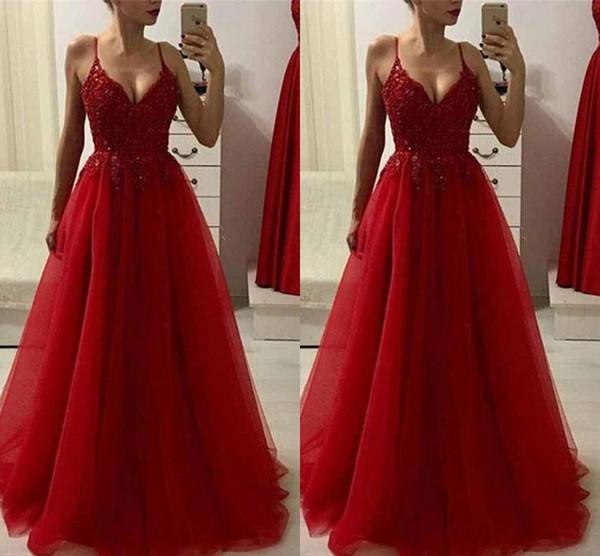 Compre Cintura Imperio Una Línea Vestidos De Noche Rojos Encaje Apliques Con Cuentas Sexy Profundo Escote En V Vestido De Fiesta De Tul Vestido Largo