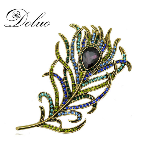 Retro crystal Feather brooch vintage big brooch pin Peacock feather shape brooch jewelry for women 106*59mm