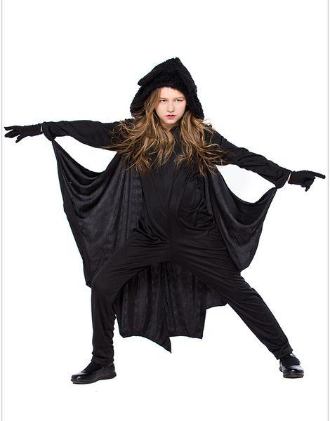 Child Animal Cute Bat Mascot Costume Kids Halloween Costumes For Girls Black Jumpsuit Connect Wings Batman