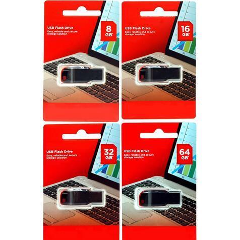 100% de vente à chaud 64 Go 128 Go 32 Go 16 Go 8 Go 4 Go USB 2.0 clé USB clé USB mémoire clé disque de détail emballage sous blister