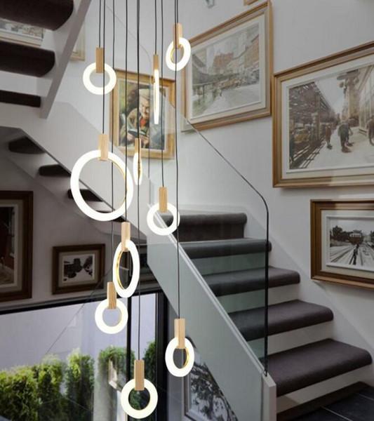 Современные светодиодные светильники с люстрами Nordic LED DropLighs Акриловые кольца лестничное освещение 3/5/6/7/10 кольца внутреннего освещения MYY