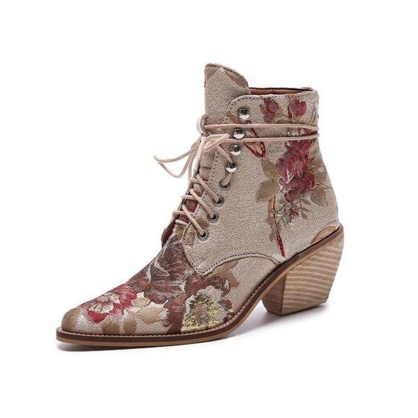 ZK модные женские сапоги новые ботинки Roman Boots with Flowers
