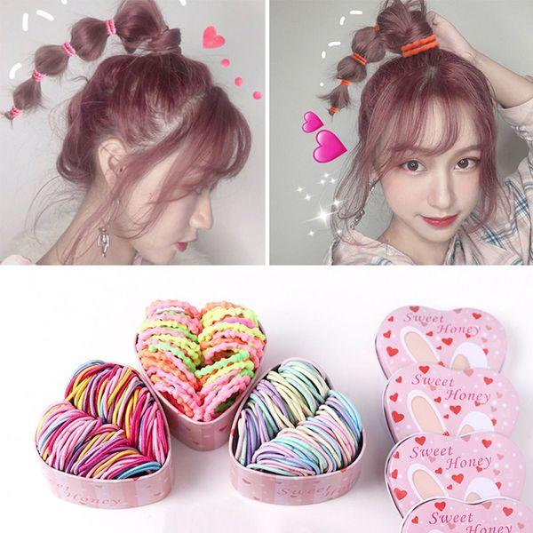 50pcs / set elastico elastico coreano carino bambini anello capelli ragazza multicolore testa corda cravatta baby ponytail titolare accessori per capelli