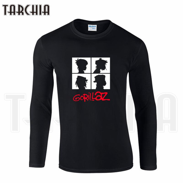 TARCHIIA Free Shipping Famous Band Gorillaz Print Men's Long Sleeve Homme Cool T-Shirt Cotton tee Plus Size for Boy Woman Wear