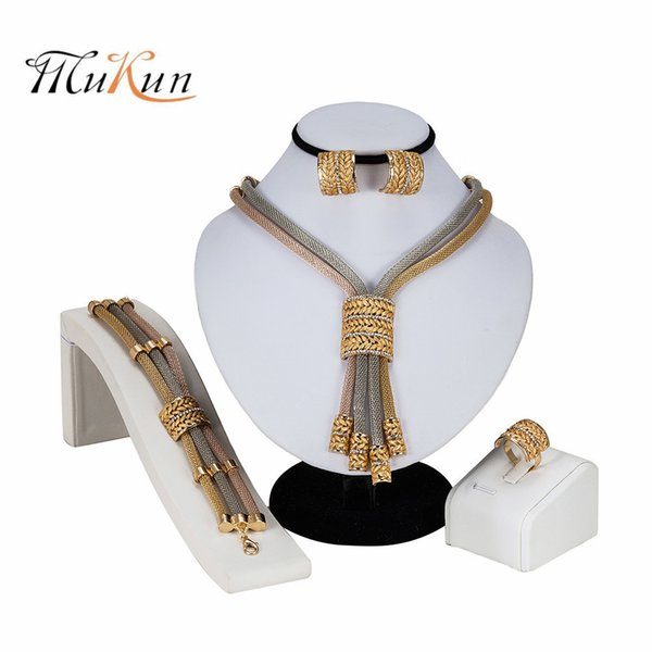 Mukun Dubai Gold Color Wedding Pendant Necklace Earrings Bracelet Ring Sets For Women Brides Jewelery Costume Crystal Jewellery J190523