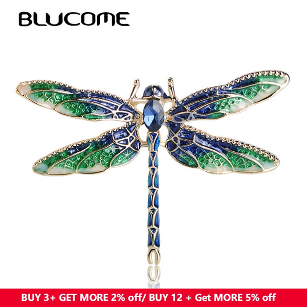 brooch pins Blucome Vivid Green Enamel Dragonfly Fly Brooches Zinc Alloy Insect Brooch Pins For Women Kids Coat Clothes Accessories Jewelry