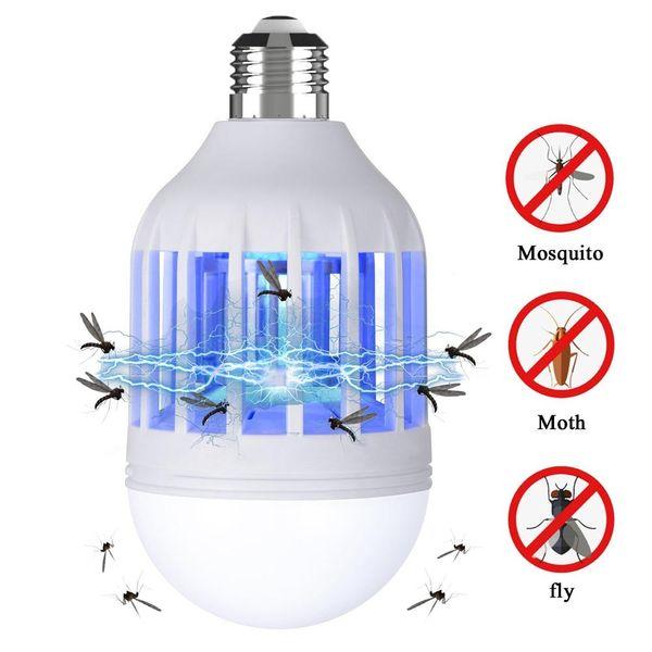 BRELONG LED Bug Zapper bombilla 15W 2 en 1 matador de mosquitos 1200LM E27 / E26 220V base para interiores y exteriores 1 paquete