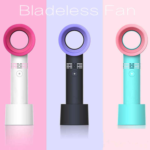 best selling 3 Colors USB Bladeless Fan Rechargeable Handheld Mini Cooler No Leaf Handy Fans With 3 Speed Level LED Indicator Car HHA64